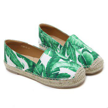 Tropical Printed Espadrille Flats - WHITE 40
