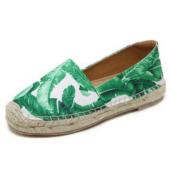 Tropical Printed Espadrille Flats - WHITE 38