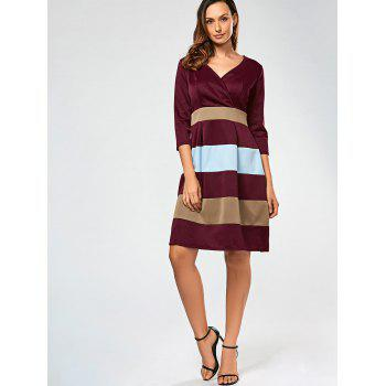 V Neck Color Block Surplice Dress - S S