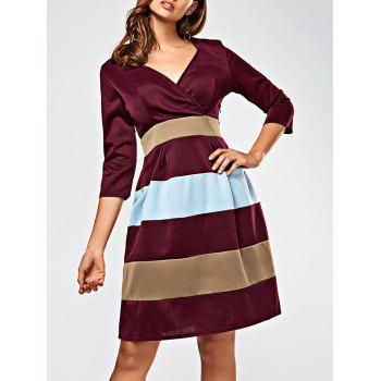 V Neck Color Block Surplice Dress - WINE RED L