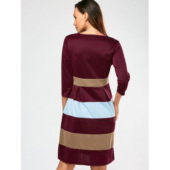 V Neck Color Block Surplice Dress - WINE RED WINE RED