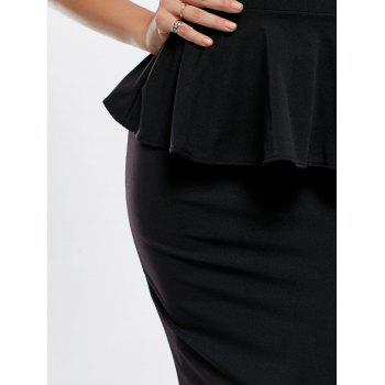 Sexy Black Boat Neck Peplum Dress For Women - BLACK L