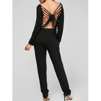 Sexy Backless Hollow Out T-Shirt and Solid Color Pencil Pants Twinset For Women