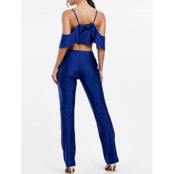 Stylish Spaghetti Strap Sleeveless Solid Color Flounced Women's Romper - BLUE XL