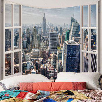 Faux Window Building Printed Waterproof Wall Tapestry - GRAY W59 INCH * L51 INCH