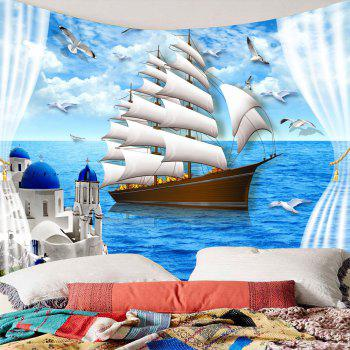 Sailing Boat Seascape Waterproof Wall Tapestry - LIGHT BLUE LIGHT BLUE
