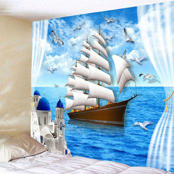 Sailing Boat Seascape Waterproof Wall Tapestry - LIGHT BLUE W59 INCH * L59 INCH