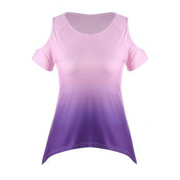 Ombre Plus Size Asymmetric Cold Shoulder T-shirt - PURPLE PURPLE