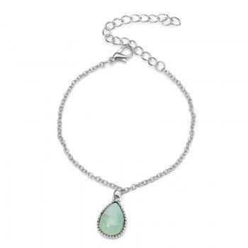 Faux Gemstone Teardrop Charm Chain Bracelet - GREEN GREEN