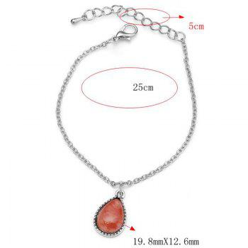 Faux Gemstone Teardrop Charm Chain Bracelet -  RED