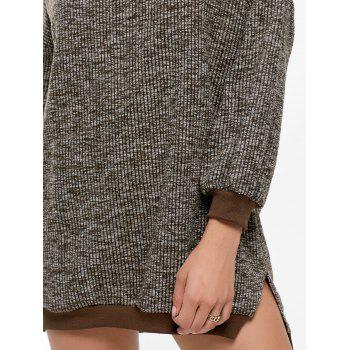 Crew Neck Slit Ribbed Sweater Dress - ONE SIZE ONE SIZE