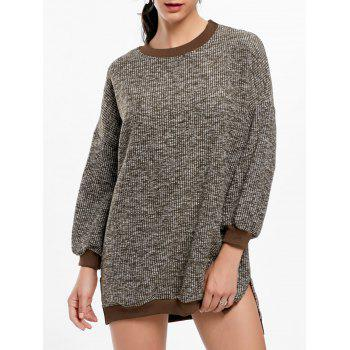 Crew Neck Slit Ribbed Sweater Dress - KHAKI ONE SIZE
