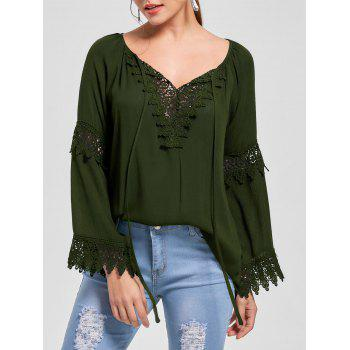 Lace Insert Flare Sleeve Bohemian Blouse