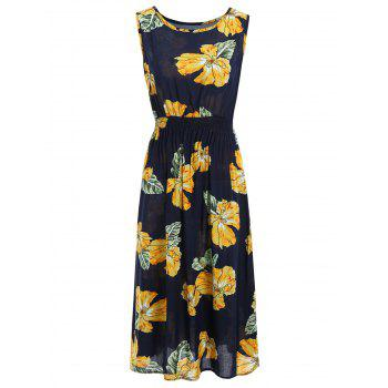 Handpainted Flower Print Elastic Waist Sleeveless Maxi Dress
