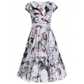 Ink Painting Cap Sleeve Chiffon Surplice Dress