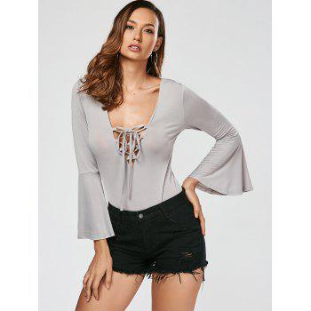 Flare Sleeve Lace Up Bodysuit - GRAY S