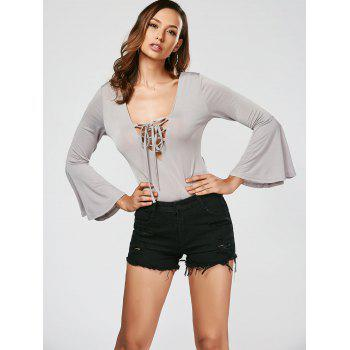 Flare Sleeve Lace Up Bodysuit - GRAY L