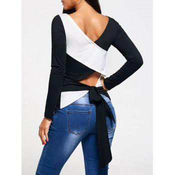 Long Sleeve Cross Back Lace Up T-shirt
