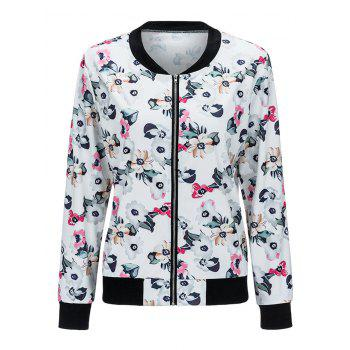 Zippered Floral Print Jacket - WHITE L