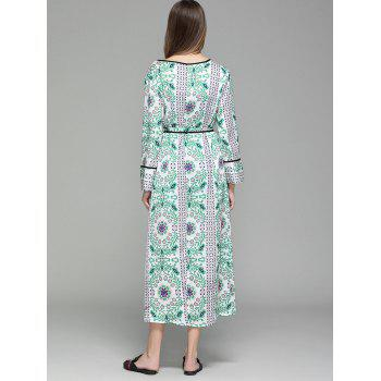 Long Sleeve Flower Print Maxi Cover Up - M M