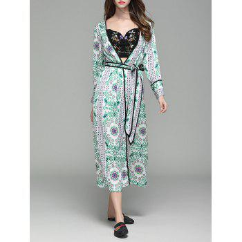 Long Sleeve Flower Print Maxi Cover Up - FLORAL L