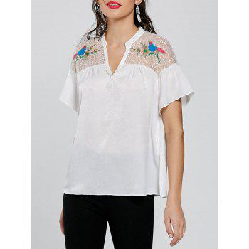 Tulle Yoke Embroidery Blouse