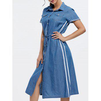 Button Down Drawstring Midi Chambray Dress