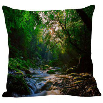 Mountain Stream Printed Square Pillow Case - W18 INCH * L18 INCH W18 INCH * L18 INCH