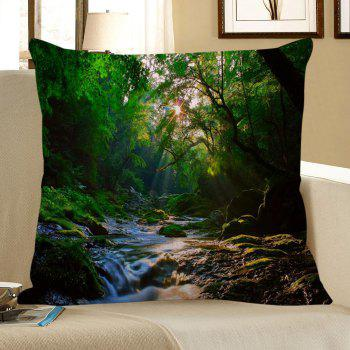 Mountain Stream Printed Square Pillow Case - GREEN W18 INCH * L18 INCH