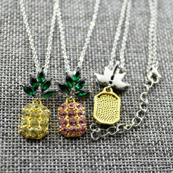 Rhinestone Pineapple Necklace with Earring Set -  PINK