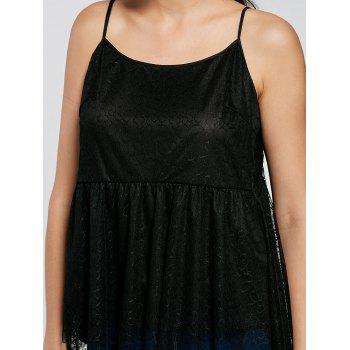 Cut Out Tulle Peplum Top - BLACK L