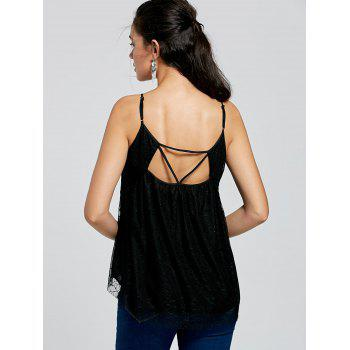 Cut Out Tulle Peplum Top - BLACK XL
