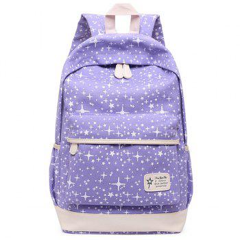 3 Pieces Star Print Canvas Backpack Set - PURPLE