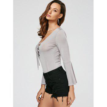 Flare Sleeve Lace Up Bodysuit - GRAY GRAY