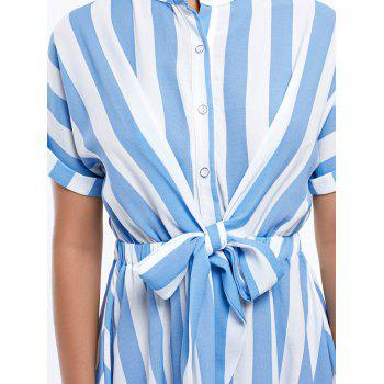Half Button Striped Mini Dress - STRIPE STRIPE