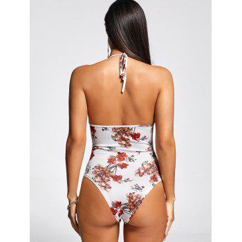 One Piece Flower Lace Up Front Swimsuit - WHITE WHITE