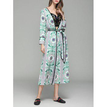 Long Sleeve Flower Print Maxi Cover Up - FLORAL FLORAL