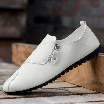 Faux Leather Zip Slip On Shoes - Blanc 43