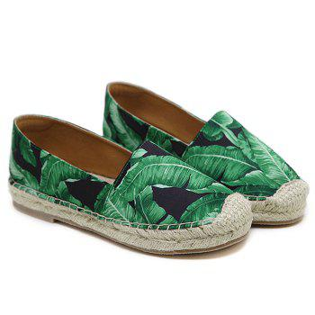 Tropical Printed Espadrille Flats - BLACK BLACK