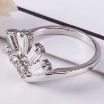 Artificial Gem Inlay Geometrical Ring - SILVER SILVER