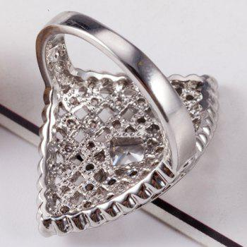 Faux Diamond Inlaid Rhombic Shape Ring - Argent 6