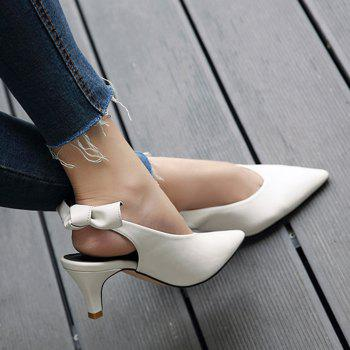 Slingback Slip On Point Toe Pumps - WHITE WHITE