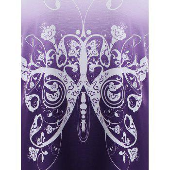 Lace Insert Butterfly Print Asymmetrical T-shirt - PURPLE 2XL