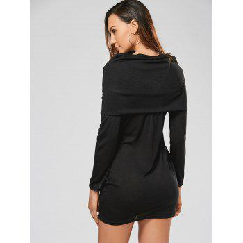Stylish Hooded Long Sleeve Bodycon Solid Color Women's Dress - BLACK M