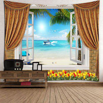 Flowers Window Seascape Waterproof Wall Tapestry - LIGHT BLUE W59 INCH * L51 INCH