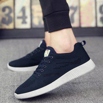 Breathable Mesh Tie Up Casual Shoes - DEEP BLUE 41