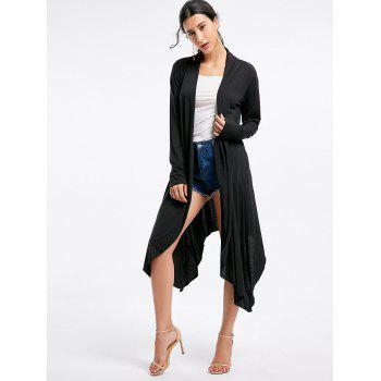 Open Front Long Sleeve High Low Cardigan - BLACK XL