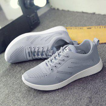 Breathable Mesh Tie Up Casual Shoes - GRAY 42