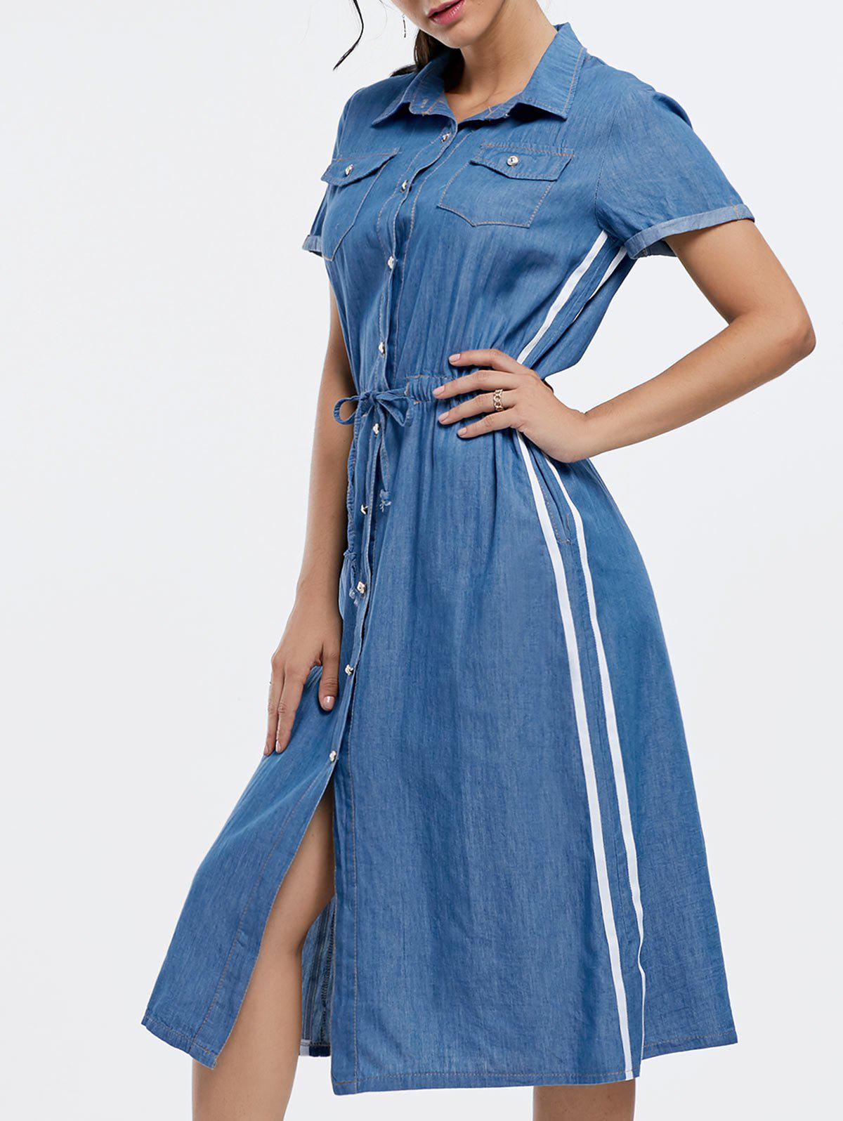 Robe Chambray Midi à bout en bout - Denim Bleu S