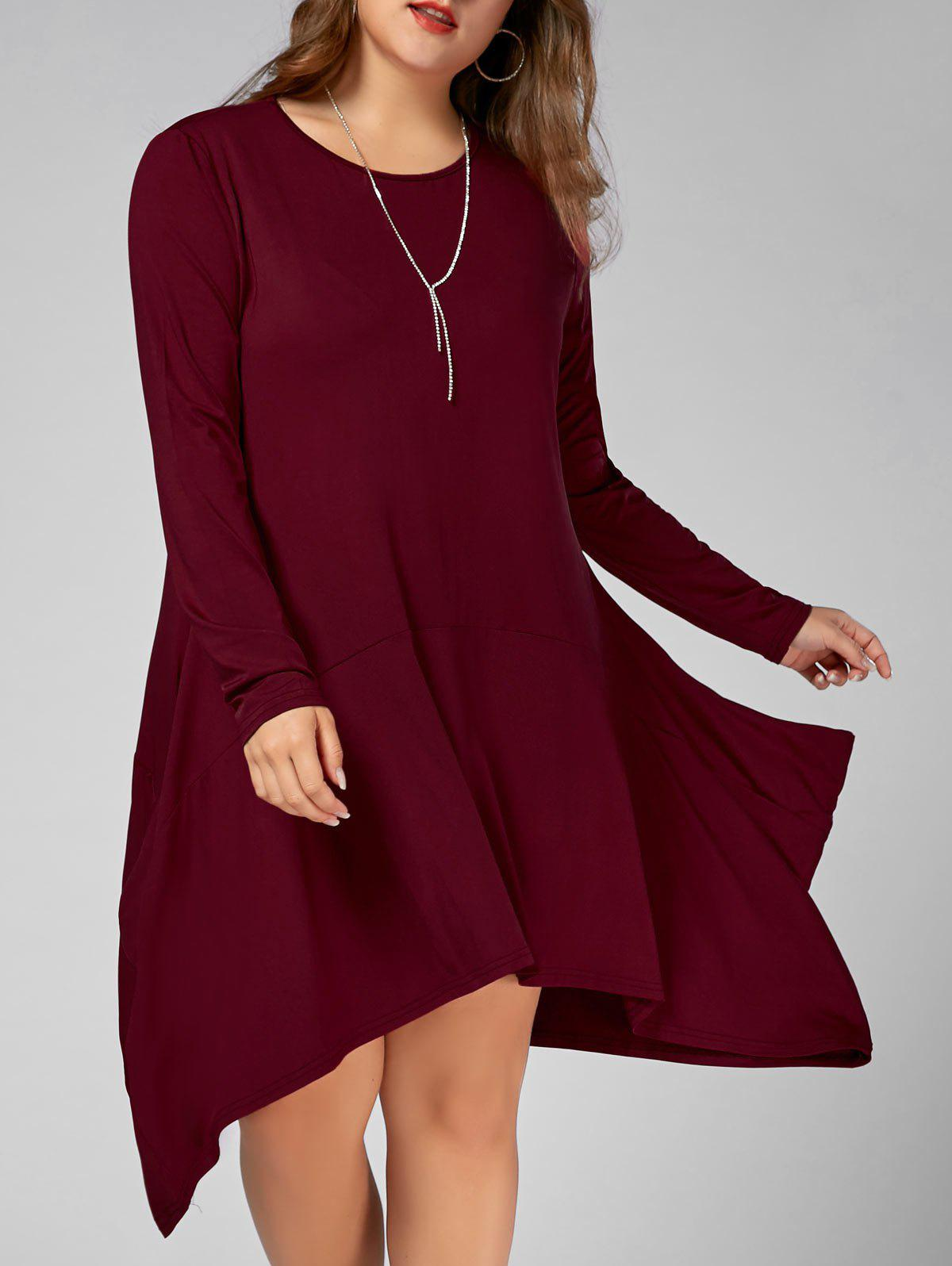 Plus Size Long Sleeve Asymmetric Dress with Pockets plus size double pockets knitted dress